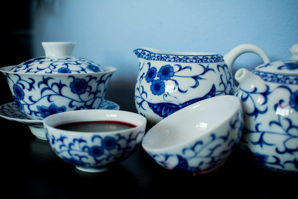 A blue-and-white Chinese tea set.
